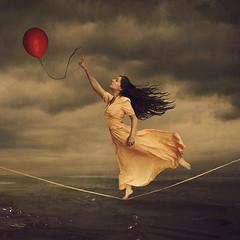 the dream that dares us (brookeshaden) Tags: selfportrait storm reaching circus surrealism surreal fantasy ethereal tightrope conceptual redballoon whimsical storytelling fineartphotography darkart brookeshaden girlontightrope