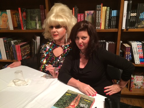 "Lady Bunny with author and photographer Petra Martin at the Books and Books signing of her latest book entitled ""Beefcake"""