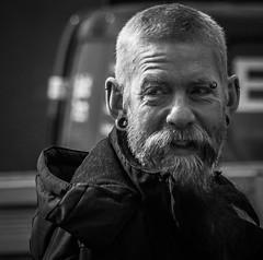 Portrait C1 (pootlepod) Tags: street portrait blackandwhite male men monochrome closeup beard photography pavement sidewalk stphotographia