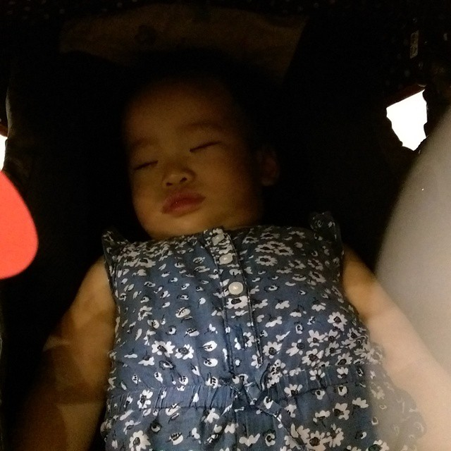 #ChuaMayErn sleeping after being such a guai girl throughout the 1 hour of visiting the Parliament House & paying our last respects to the late Mr Lee Kuan Yew. @carolin_tan & I will make sure May Ern & our other future children will remember what Mr Lee
