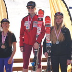 Alix Wells (1), Hannah Melinchuk (2) and Meg Cumming (3) and - overall slalom podium Red Mountain Keurig Cup PHOTO CREDIT: Derek Trussler