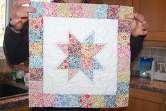 Liberty patchwork star pillow (cuckoo blue) Tags: woman home girl liberty star rainbow hand quilt squares handmade linen sewing charm pillow fabric gift quilted patchwork cushion stipple libertyoflondon stippling freemotion