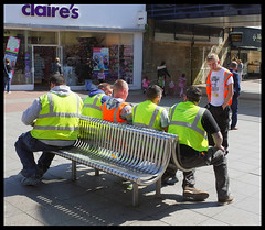 Sunshine break (exreuterman) Tags: street color workers candid streetphotography gr ricoh southend