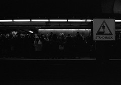 They are Waiting, Stand Back (mikeciv) Tags: subway ttc rushhour kodaktmax400 konicahexar