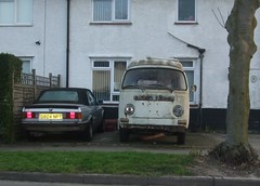 1990 BMW 320i and 1970s Volkswagen Camper Van (Stuart Axe) Tags: campervan microbus vw volkswagen transporter caravelle kombi combi bus uk england unitedkingdom gb greatbritain bmw 3series bmw3series car abandoned mouldy scrap scrapcar derelict decay decaying decayed old rusty rust rusted rusting corroded corrosion junk junked dumped rotting rotten mould abandonment bayerischemotorenwerke german germany 1990 sorn convertible camper