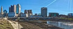 Osborne_Allyson_Final_shot1 (AllysonOsborne) Tags: bridge columbus ohio panorama sun building water buildings downtown bridges panoramic flare columbusohio hdr sunflare bracketing 614 hdrphotography hdrpanorama