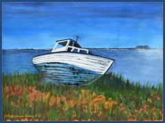 Am Ende einer langen Fahrt (antje whv) Tags: boote malerei outdodor fotorahmen wasser himmel alt old art watercolor acryl