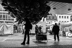Rain (gambajo) Tags: brühl deutschland orte ballon man rain weather waiting blackandwhite blackwhite bw street streetphotography 1year1town1lens