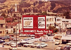 Gil Ashcom Rambler & J. E. French Co. Used Car Lots, Berkeley CA (aldenjewell) Tags: car french photo plymouth lot used co dodge rambler gil dealership je skoda simca ashcom