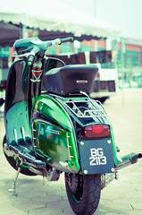 Lambretta (axsatr91) Tags: old colour green classic bike contrast vintage photography nikon rust vespa dof bokeh transport rusty bikes lambretta transportation malaysia saturation motorcycle vehicle s2 seremban d7000