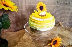 "Tarta ""Pulgarcito"" (Ñam Ñam) Tags: baby shower bebé sunflower girasol fondant pulgarcito"