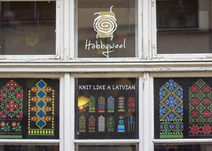 Riga (Hans van der Boom) Tags: vacation holiday window shop knitting text baltic latvia oldtown riga lv woolshop hobbywool