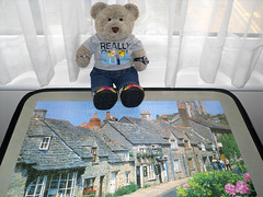 """""""I'm the king of the Castle!"""" (pefkosmad) Tags: bear old uk houses england ted castle netherlands stone buildings toy stuffed pub soft village teddy fluffy hobby puzzle dorset leisure jigsaw playtime corfe charityshop pastime onemissing 1000pieces tedricstudmuffin"""