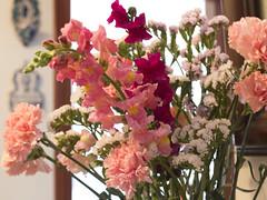 La vie en rose - 4 (Micheo) Tags: pink flowers flores rosa bunch ramo snapdragons carnations claveles conejitos limonium jarrn primavera2016