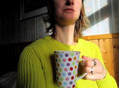 Morning coffee in the sun (SofiDofi) Tags: trip morning sunlight coffee yellow norway self fun norge colorful view may naturallight mug lofoten reine nordnorge lofotenislands nordland moskenes spring2016 ninemonthsupnorth ninemonthsinthenorth