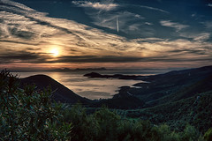 Ionian Sunset.. (George Kapsas) Tags: sunset sea seascape clouds easter airplane tracks greece ionian syvota epirus
