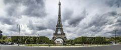 Paris 2016 (Susan Whitbread) Tags: panorama paris france clouds grey spring pano eiffeltower tourists printemps champsdemars hedges