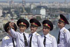 All smile, Kiev Ukraine (Sean Hartwell Photography) Tags: summer sun white boys smile smart army view military hats ukraine shirts kiev cadet selfie tamron28300mm dnipro canon6d