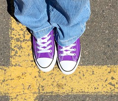 Purple shoes and yellow lines (f l a m i n g o) Tags: yellow pavement line converse 19224