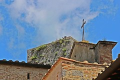 Roofs (Emanuele Barcali) Tags: vacation sky italy sun black green tower love clouds countryside photo san artist view gimignano weekend withe sunny medieval hills tuscany sangimignano castello borgo castel torri blackwithe togheter