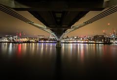 Under the bridge (Nuno BL#975) Tags: city longexposure bridge colour london thames night lights millenniumbridge