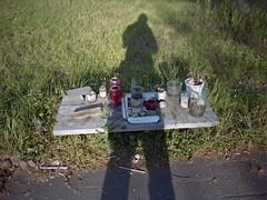 (laurentgaudart) Tags: road shadow film germany deutschland photography shrine frankfurt ground hafen allemagne foundsculpture mamiya645protl laurentgaudart darkselfie