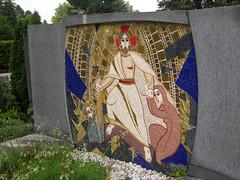 Mosaic Grave at Žale Cemetery, Ljubljana, Slovenia (Wiebke) Tags: headstone gravestone mosaic ljubljana slovenia europe vacationphotos travel travelphotos žale žalecentralcemetery cemetery centralnopokopališčežale pokopališče bežigrad bezigrad