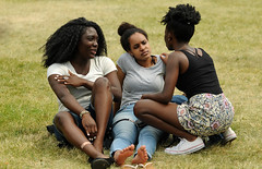 Friends (Poocher7) Tags: friends portrait people beautiful grass outdoors sandals candid gorgeous relaxing jeans chilling listening sharing barefeet shorts lovely talking chatting stories hangingout prettygirls girltalk blackgirls lovelyladies africanhairstyles caribbeangals