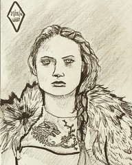 Sansa Stark (NatosuLongu) Tags: people art illustration ink drawing retrato fanart stark dibujo crosshatching gameofthrones sansastark