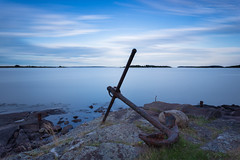 The Anchor and the Sea (Normann Photography) Tags: old longexposure blue seascape norway rust pov no smooth anchor tbs tnsberg waterscape ghostcat vall vestfold greatsky leefilters thebigstopper cottonwaves torgersya torgersisland jernvik strandbakken