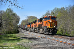 Rolling up the Cuba sub. (Machme92) Tags: railroad trees sky clouds nikon cuba tracks rail trains row bn missouri r rails ge railfan freight bnsf railroads freighttrain railroading railfanning gevo railfans burligrton