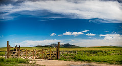 20160307-021_D750_50 mm_f-2.8_1-4000 s_ISO-560-Pano (Ryker Vorton) Tags: landscape paisaje hill colina sierra campo field countryside rural entrada entrance gate tranquera cielo nubes sky cloud grass pasto pastizal ganado camino road wood madera fence d750 50mm panorama