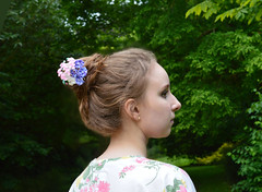 Wearing hagi and kikyou kanzashi. (Bright Wish Kanzashi) Tags: private tsumamizaiku kanzashi handmade silk hairpin upin wearing model girl hair updo         white hagi bell flower purple pink