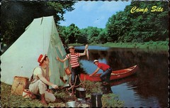 Klotz Lake Camp, Longlac, Quebec (SwellMap) Tags: postcard vintage retro pc chrome 50s 60s sixties fifties roadside midcentury populuxe atomicage nostalgia americana kitsch animal animals wildlife pose posing fish fishing hunting