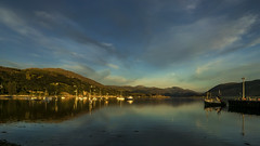 moonrise over Loch Broom (prajpix) Tags: moon ullapool lochbroom rosshire westerross highlands scotland boats sailing sky clouds hills mountains sea water pier harbour fishing landscape