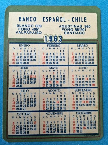 Calendario 1963.Calendario Para El Banco Espanol Chile 1963 A Photo On Flickriver