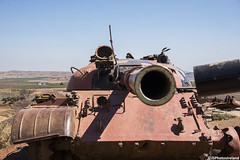 A Syrian T-62 (jsphotosireland) Tags: valleyoftears yomkippurwar 1973war ramadanwar octoberwar 1973arabisraeliwar golanheights war battle syria israel military army tank armour mainbattletank t62 syrianarmour gunbarrel turret battledamage nikond810 nikkorafs28300mmf3556g ireland irl