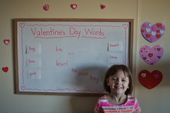 Valentine's Day Words (Vegan Butterfly) Tags: pink red cute love girl writing hearts reading words kid vegan hug kiss day child heart board adorable whiteboard read valentines theme write kindergarten homeschool homeschooling