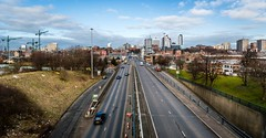 Highway to Leeds (jasonmgabriel) Tags: road city cars clouds buildings cityscape crane leeds
