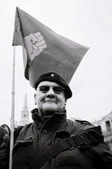 The Socialist Workers Party Protester (Foto John) Tags: leica london rally protest trafalgarsquare ishootfilm socialist protester leicam7 400asa socialistworkersparty fujineopan400cn summicronm35mmasph