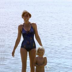 M & E, Sandbanks 2 (jonathan charles photo) Tags: sea sun art beach topf25 swim photo jonathan daughter mother charles 1980 sandbanks