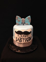 Mustache (Royalty_Cakes) Tags: blue boy baby art cakes cake silver grey pattern monogram bow mustache edible babyshower edibleart cakeart royaltycakes