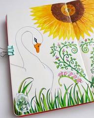 White Swan (Milagritos9) Tags: flowers heart sunflowers girasol greengrass whiteswan birdportrait moleskinesketchbook cisneblanco moleskinejournals moleskineproject moleskineartwork birdjournal moleskineartpages artistillustratedjournal