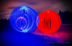 BlueOrbs (Andrae' Cameron) Tags: longexposure blue light red lightpainting landscape bluehour orbs ballsoflight70d