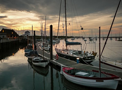 Wells Harbour (Johnners61) Tags: uk sunset sea england sun night boats lumix golden evening coast harbor boat seaside twilight harbour yacht britain dusk norfolk wells next resort east panasonic coastal yachts goldenhour eastanglia afterglow anglia wellsnextthesea tz1