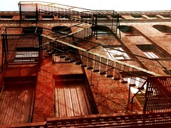 Stairway to Heaven (Jayne Reed) Tags: windows red urban brick downtown kansascity buldings redbrick