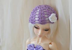Lavender cap (ceressiass) Tags: light cute scale hat shop modern miniature doll purple princess handmade 14 lavender size lolita tophat cop kawaii romantic bjd etsy knitted msd