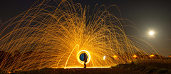 steel wool (samuelstephens1) Tags: sky moon art wool night long exposure display steel firework fields sparks spinng