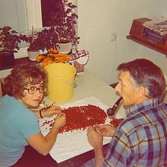 Mom and Dad clears lingonberry Ydrehammar Sweden 1970 (Ankar60) Tags: family woman kitchen vintage sweden interior swedish scanned 70s sverige 1970 1970s seventies 70 nostalgi tal svensk kk interir inredning analogt svenskt sjuttiotal