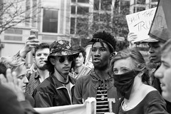 Anger (Rich McPeek) Tags: street city people blackandwhite bw signs downtown pittsburgh mask rally crowd protest streetphotography anger mob hate trump burgh streetbw pittsburghstreet pittsburghphotos